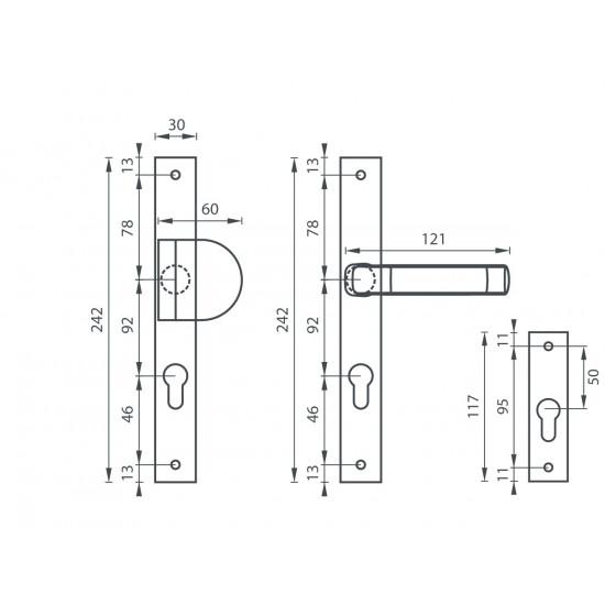 SLIM - zúžené zpevněné kování, F4 - bronz elox