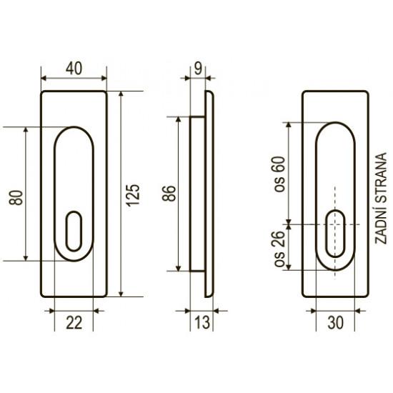 Mušle BB/D otvorem, OGS - Bronz česaný mat
