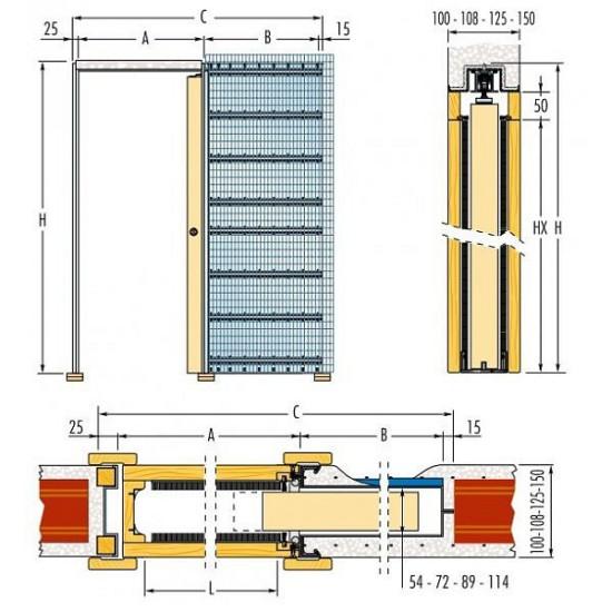 Stavební pouzdro ECLISSE jednokřídlé do zdiva